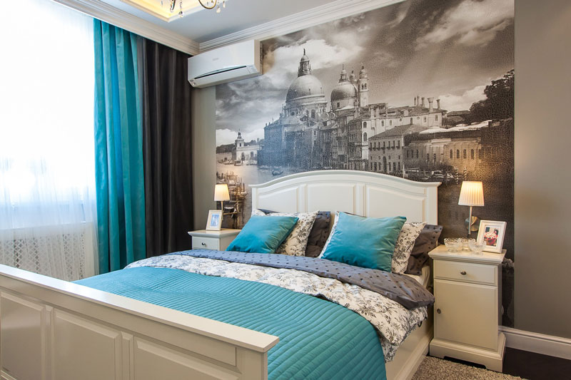 Дизайн спальни с фотообоями